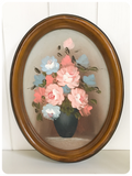 KITSCH VINTAGE 70s OVAL OIL PAINTING STILL LIFE PINK BLUE FLOWERS ROSES VASE