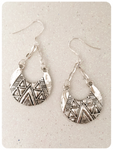 Retro Boho Hippie Gypsy Tribal 925 Sterling Silver Aztec Crescent Moon Earrings