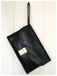 VINTAGE 70s 80s BLACK LEATHER UNISEX TRAVEL DOCUMENT CARRY CLUTCH HOLIDAY BAG