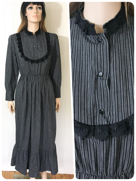 ORIGINAL VINTAGE 1970s PRAIRIE PEASANT MAXI HIPPIE DRESS BOHO UK 10 - 14
