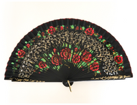 VINTAGE HAND MADE PAINTED WOOD FABRIC FLORAL RED BLACK FAN