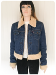 ORIGINAL RETRO LEVI LEVIS BLUE DENIM SHERPA JACKET SIZE M