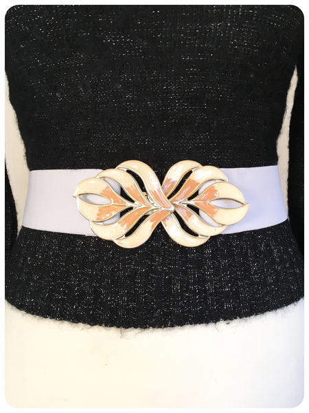 VINTAGE 80's WIDE WHITE ELASTIC CINCH WASPIE WAIST BELT LEAF BUCKLE