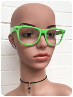 Retro 80s Neon Green Wayfarer Horn Rim Clear Lens Geek Glasses Frames Specticles