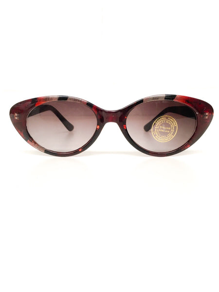 Vintage 1980s Red Peacock Inlay Frames Rockabilly Cat Eye Sunglasses Brand New Deadstock