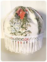 VINTAGE 1970's/1980's SHABBY CHIC FLORAL FRINGED PENDANT LIGHT SHADE