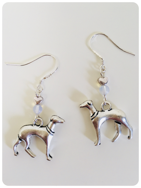 Hand Crafted 925 Sterling Silver Whippet Greyhound Sighthound Moonstone Gemstone Earrings