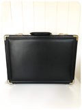 VINTAGE BLACK LEATHER ANTLER COMBINATION BRIEFCASE ATTACHE CASE