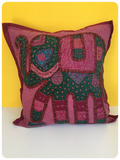 Indian Hand Made Patchwork Embroidered Elephant Cushion Cover