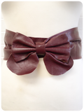 Vintage 1980's Super Wide Burgundy Leather Bow Waist Cinch Belt 29 inches UK12