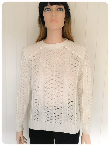 VINTAGE 1980'S QUIRKY CUTE LACY FINE KNIT JUMPER UK 10-12