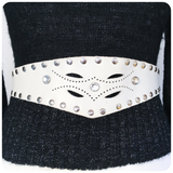 VINTAGE 80's WHITE LEATHER STUDDED CINCH WAIST BELT 8-10