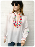 Vintage 1970s Boho Floral Hand Embroidered Peasant Top Blouse