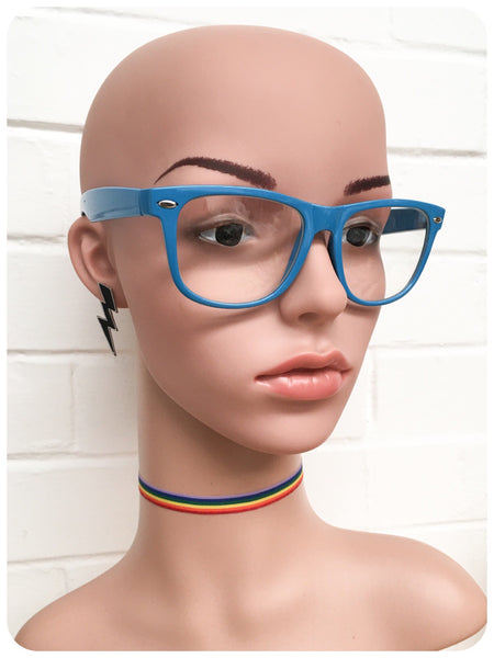 Retro 80s Blue Wayfarer Horn Rim Clear Lens Geek Glasses Frames Specticles
