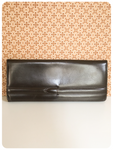 VINTAGE 1970's DARK BROWN GENUINE LEATHER CLUTCH BAG