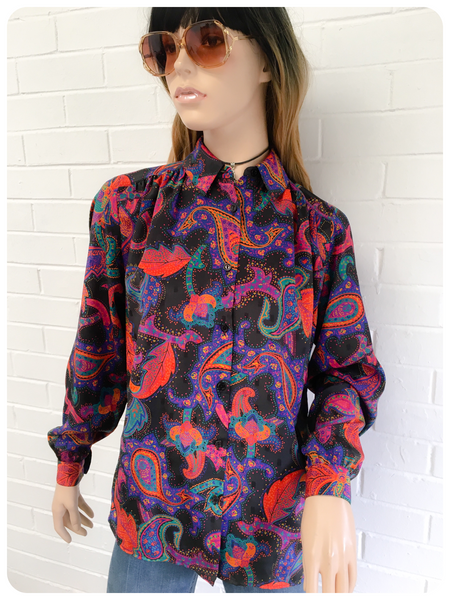 Vintage 80's Semi Sheer Bright Paisley Pattern Boho Blouse Top Shirt UK 8 - 12