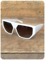 Vintage 90s Oversize White Geometric Hexagon Indie Rave Grunge Sunglasses Dead Stock UV400
