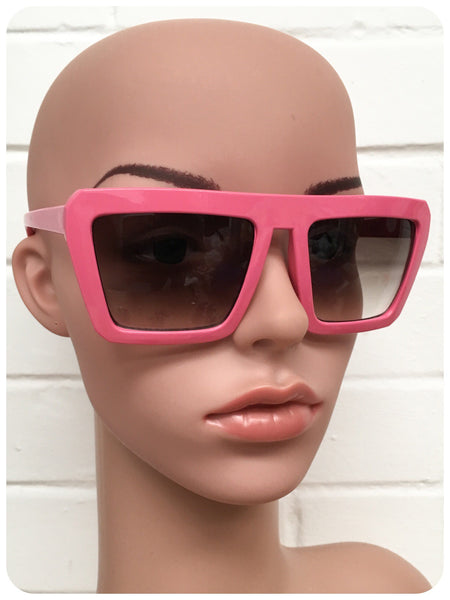 Vintage 90s Oversize Pink Super Geometric Cartoon Sunglasses Dead Stock UV400