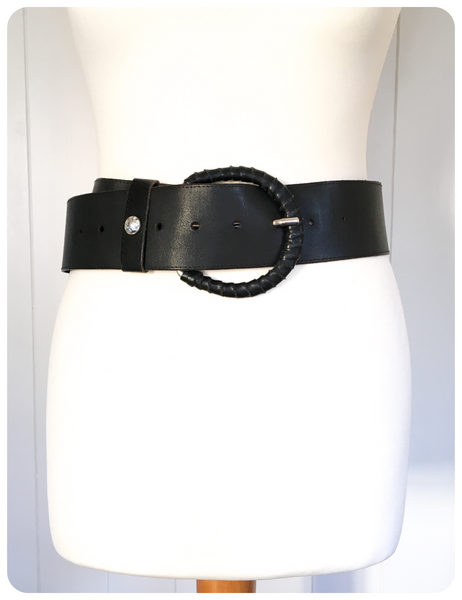 VINTAGE 80's WIDE BLACK LEATHER CINCH WAIST BELT 8 - 14