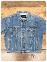 Vintage Retro Wrangler Blue Denim Trucker Jacket Size Medium