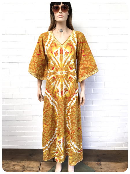 VINTAGE 70's INDIAN PAISLEY PRINTED EMBROIDERED COTTON KAFTAN MAXI DRESS 8-10