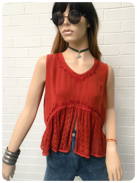 Vintage 90's Indian Terracotta Boho Hippy Top Blouse