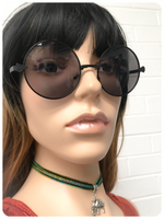 Retro 60's 70's Big Black Penny Round Sunglasses