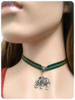 Hand Crafted Indian Elephant Velvet Choker Necklace