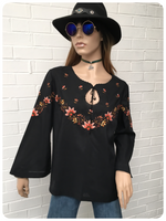 Vintage 70s Floral Hand Embroidered Black Peasant Top Blouse