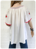 Vintage 70s Floral Hand Embroidered Peasant Top