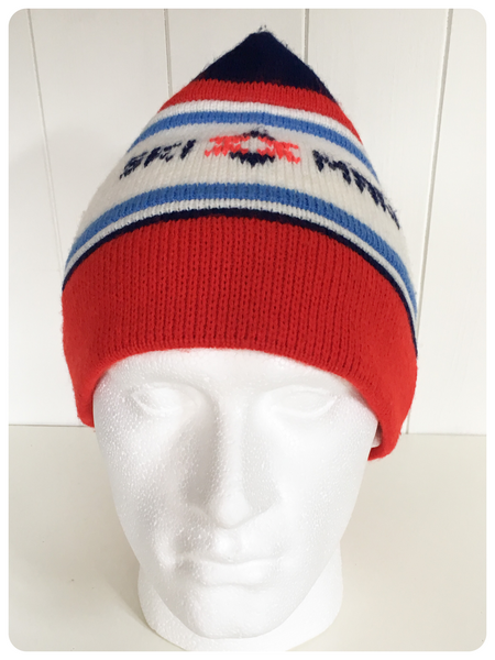 ORIGINAL VINTAGE 1970's SKI MAN BEANIE KNITTED WINTER HAT