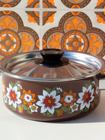 1970's Brown Floral Enamel Small/Medium Saucepan - Penny Bizarre - 5