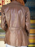 Vintage 1970s Dark Tan Leather Blazer Jacket - Penny Bizarre - 6