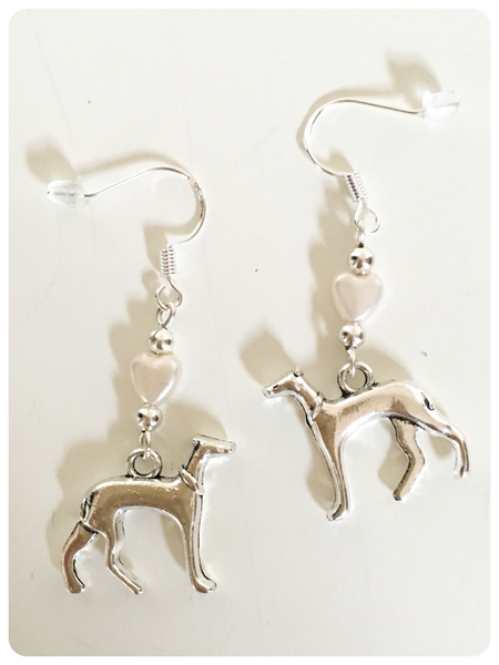 Hand Crafted 925 Sterling Silver Whippet Greyhound Lurcher Sighthound Pearl Heart Earrings