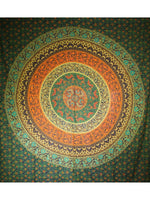 Indian Wall Hanging Double Throw Bedspread Mandala Green - Penny Bizarre - 2