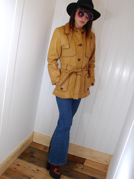 Vintage 1970s Tan Leather Jacket - Penny Bizarre - 1