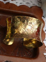 Wide Concave Hand Crafted Indian Flowers Brass Bangle - Penny Bizarre - 3