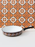 1970's Brown Floral Enamel Frying Pan - Penny Bizarre - 1