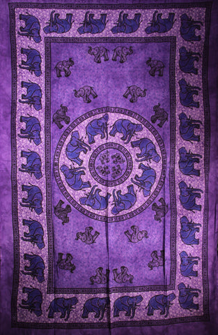 Indian Wall Hanging Single Throw Bedspread Elephant Tye Dye Purple - Penny Bizarre - 1