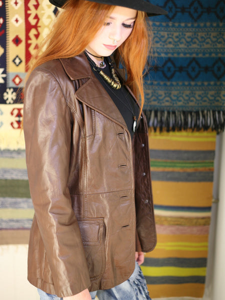 Vintage 1970s Dark Tan Leather Blazer Jacket - Penny Bizarre - 1