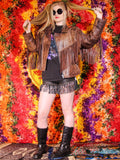 Vintage Brown Leather Biker Tassel Jacket - Penny Bizarre - 3