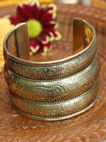 Chunky Hand Crafted Indian Elephants & Flowers Brass Bangle - Penny Bizarre - 2