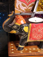 Wooden Indian Elephant Tea Light Holder (Black) - Penny Bizarre - 2