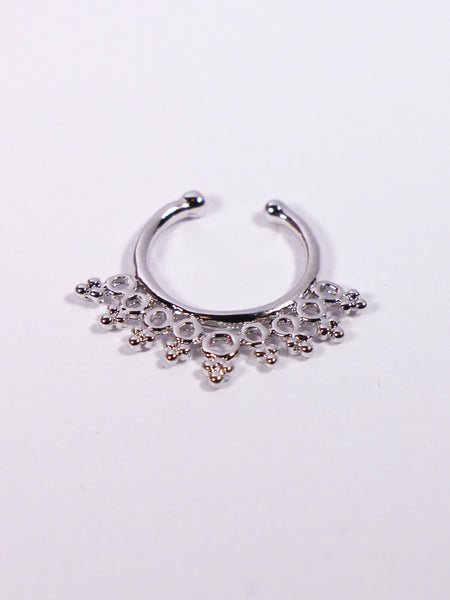 Silver Beaded Rings Non-pierced Septum Ring - Penny Bizarre