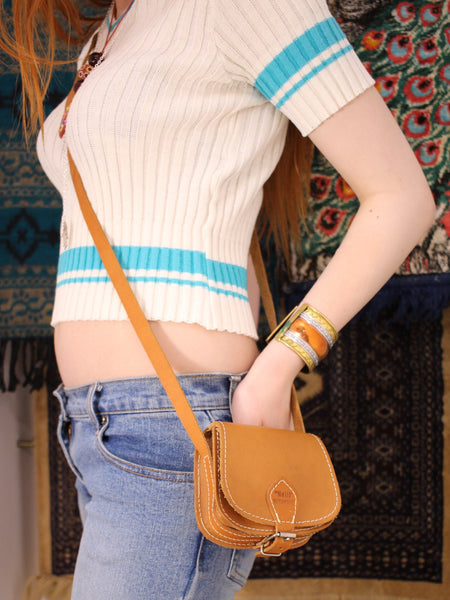 Vintage 70s Mini Tan Leather Saddle Bag - Penny Bizarre - 1