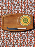 1970's Funky Mandala Tile Cheese Board & Knife - Penny Bizarre - 1