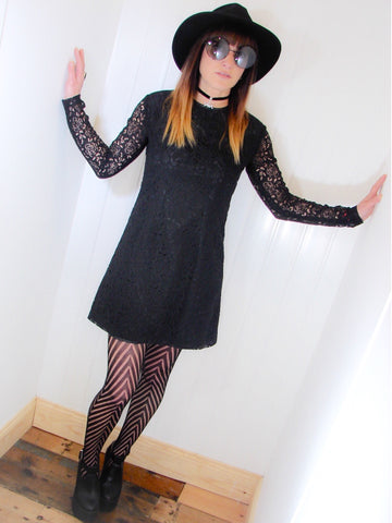 Salem Black Witchy Lace Dress - Penny Bizarre - 1