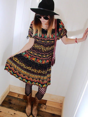 Free Spirit Bohemian Indian Cotton Dress - Penny Bizarre - 1