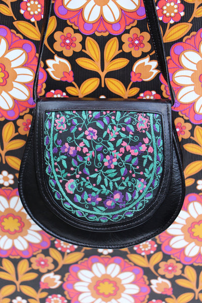 Vintage 70s Embroidered Floral Leather Saddle Bag - Penny Bizarre - 1