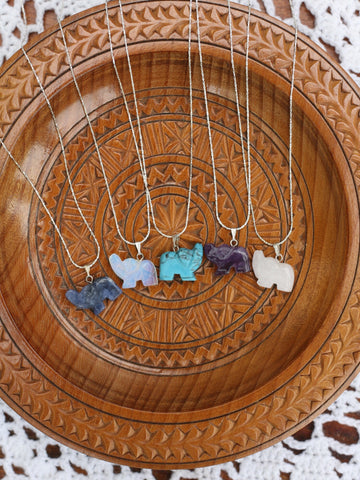 Hand Crafted Gemstone Elephant Necklace - Penny Bizarre - 1
